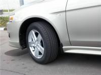 Брызговики на пластиковые пороги для Mitsubishi Lancer X